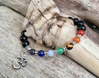 Silver Chakra Mala Bracelet | Anti Tarnish Rhodium Om Charm | Obsidian | High Grade Natural Stones | Reiki Infused | Balances ALL Chakras