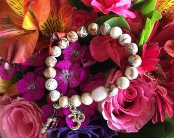 Om True Love Mala Bracelet   Reiki Infused Mala Beads   Luxury AAA Crazy Lace Agate Gemstones   Rose Quartz   Stability   Blissful Happiness
