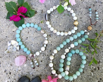 Dharma Triple Stack | Set of Three Mala Bead Bracelets | Reiki Healing | Luxury Amazonite | Magnesite | Self Esteem | Confidence | Abundance