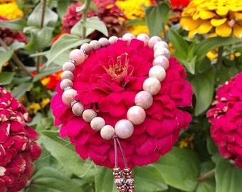 Divine Timing Mala Bracelet | Peach Moonstone | Authentic Sandalwood | Mala Beads | Angelic Guidance | Clairvoyance | Stabilizes Emotions