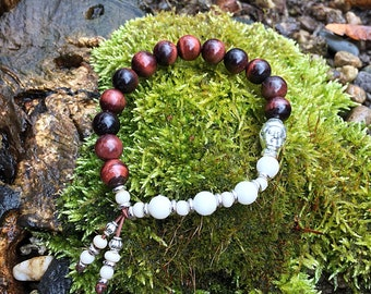 Nirvana Mala Bracelet | Red Tigers Eye | Magnesite | Mala Beads | Unique Yoga Jewelry | Wrist Mala | Motivation | Reduces Sadness and Fear