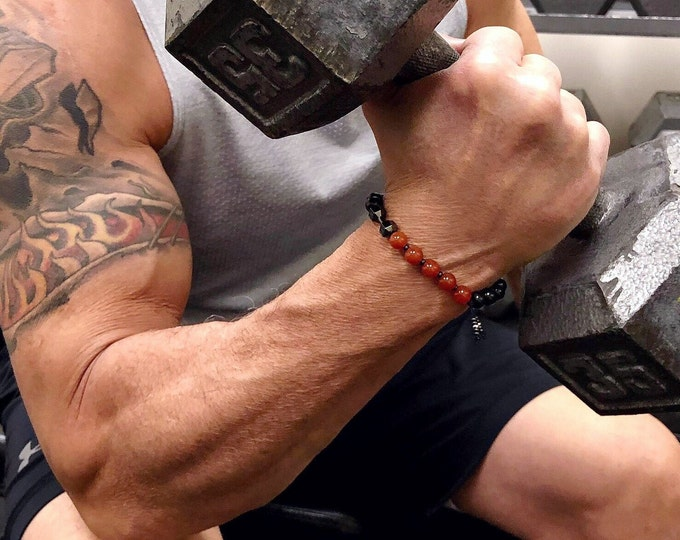Featured listing image: High Energy Fitness Mala Bracelet | Live to Lift | Red Carnelian | Black Tourmaline | Stamina | Endurance | Protects Energy Drain