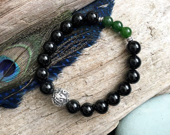Men's Limitless Mala Bracelet | Mala Beads | Wrist Mala | Reiki Infused | High Vibration | Om Mani Mantra | Onyx | Jade | Wealth | Strength