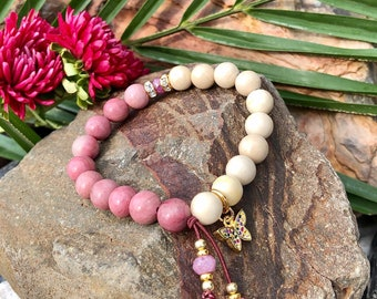 NEW! Butterfly Kisses Mala Bracelet | Pink Rhodonite | Ivory Fossil Jasper | Genuine Ruby Gemstones | Opens Heart Chakra | Love | Peace