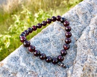 Men's Love & Success Bracelet | Men's Mala Beads | AAA Luxury Garnet Gemstones | Passion | Motivation | Business Success | Speeds Metabolism