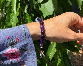 Focus Mala Bracelet | AAA Amethyst | AAA Aquamarine | Luxury Natural Gemstones | Mala Beads | Yoga Jewelry | Reiki Infused | Clarity | Peace
