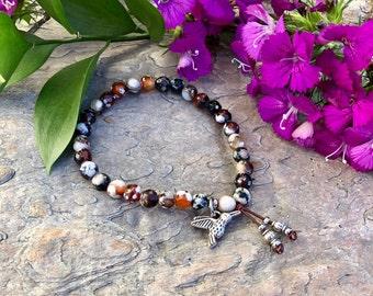 Happy Hummingbird Bracelet | Reiki Infused Agate Mala Beads | Love | Abundance | Balance | Harmony | Peace | Wisdom | Alignment