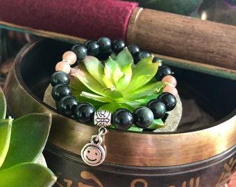 Kid's Happy Mala Bracelet | AAA Rainbow Obsidian | AAA Peach Sunstone | Reiki Healing Mala Beads | Protection | Antidepressant | Optimism