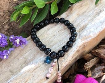 Ancient Wisdom Mala Bracelet | Obsidian | Rare Brazilian Crazy Lace Agate | Apatite | Healing | Diffuses Past Trauma | Strong Protection