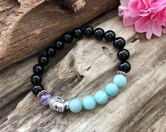 Prana Mala Bracelet | Luxury Gemstones | Black Onyx | Amazonite | Amethyst | Reiki Healing | Eases Worry | Clears Confusion | Alignment