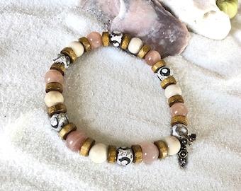 Men's Beach Getaway Mala Bracelet | AAA Sunstone | AAA Ivory Fossil Jasper | Dzi Agate | Coconut Shell | Luxury Mala Beads | Soul Soothing