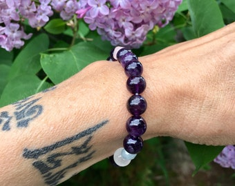 Peaceful Sleep Mala Bracelet | AAA Purple Amethyst | Selenite | Rose Quartz | Aquamarine | Reiki Infused Mala Beads | Deep Rest | Relaxation