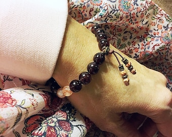 Intimate Connection Mala Bracelet | AAA Luxury Natural Gemstone Mala Beads | Garnet | Sunstone | Picture Jasper | Intimacy | Love | Trust