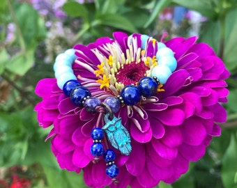 Whispering Owl Mala Bracelet | Amazonite | Blue Lapis Lazuli | Purple Charoite | Owl Charm | Eases Worry | Divine Guidance | New Path