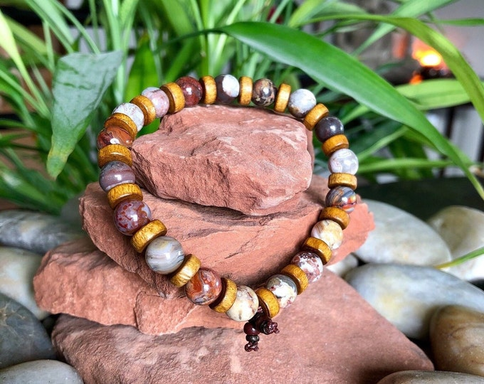 Featured listing image: Men's Heal & Reset Mala Bracelet | Laguna Lace Agate | Coconut Wood | Reiki Infused | Balances ALL Chakras | Heart Healing | Self Acceptance