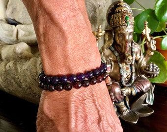 Men's Shiva Double Mala Bracelet | Luxury Natural Gemstone Mala Beads | Amethyst | Red Garnet | Onyx | Eases Worry | Boosts Strength & Drive