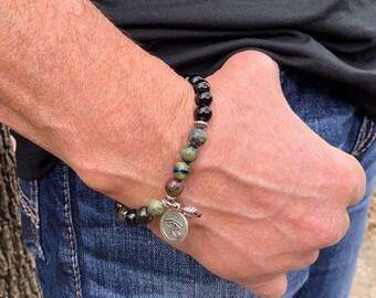 Men's Bright Future Mala Bracelet   Luxury Tourmaline   AAA Mala Beads   Eye of Horus   Protection   Eases Anxiety   Reduces Depression