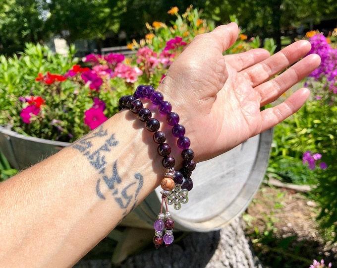 Featured listing image: Shakti Double Mala Bracelet | AAA Gemstone Mala Beads | Purple Amethyst | Brazilian Red Garnet | Clarity | Passion | Stimulates Metabolism