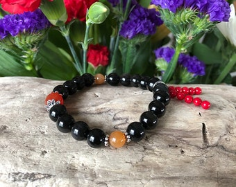 Sunset Dreams Mala Bracelet | Black Obsidian | Red Carnelian | Red Coral | Orange Adventurine | Reiki Mala Beads | Protection | Eases Grief