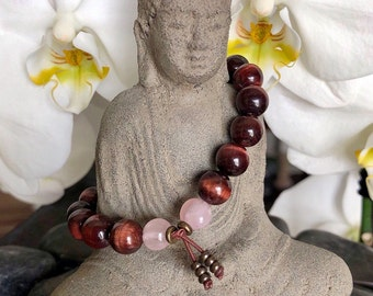 Magic Moments Mala Bracelet | AAA Red Tigers Eye | AAA Rose Quartz | Reiki Mala Beads | Passion | Love | Vitality | Life Force Energy