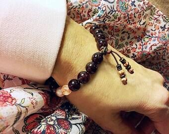 Shakti Mala Bracelet | Luxury Gemstone Mala Beads | AAA Garnet | AAA Sunstone | Picture Jasper | Love | Optimism | Success | Empowerment