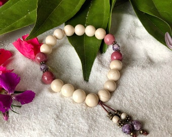 Peaceful Heart Mala Bracelet | AAA Gemstone Beads | Ivory Fossil Jasper | Rhodonite | Charoite | Love | Peace | Inner Strength | Healing