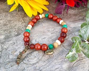 Wish Bracelet | Unique Mala Beads | Reiki Infused Mala Bracelet | Magical Raja Kayu Wood | Turquoise | Picture Jasper | Coconut Shell