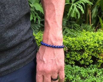 Men's Peace of Mind Mala Bracelet | Luxury Blue Lapis Lazuli | Mala Beads | Reiki Infused | Protection | Overcomes Depression and Anxiety