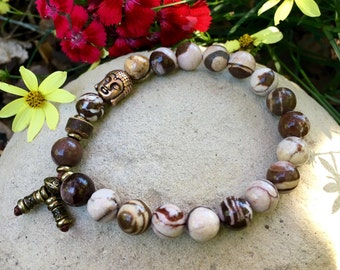 Energy Balance Mala Bracelet | Zebra Jasper | Mala Beads | Yoga Bracelet | Crystal Healing | Reiki | Physical Energy | Awareness | Alignment