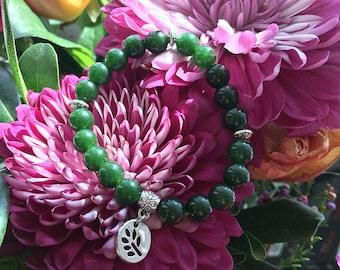 Success Jade Mala Bracelet | Reiki Infused Mala Beads | Luxury Deep Green Jade Gemstones | Yoga | Meditation | Wealth | Good Fortune