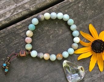 Abundance Mala Bracelet | Natural Frosted Amazonite Gemstones | Exclusive Mala Beads | Yoga | Meditation | Abundance | Luck | Communication