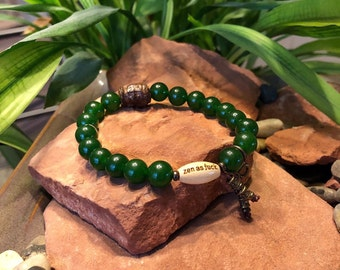 Jade Zen as F#ck Mala Bracelet | Natural Gemstones | Healing Mala Beads | Wrist Mala | Reiki Infused | Abundance | Dreams | Love | Blessings