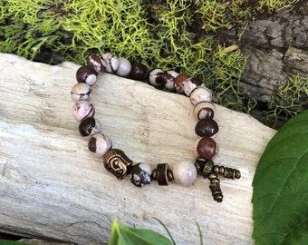 Energy Balance Mala Bracelet | Cocoa Zebra Jasper | Reiki Infused Crystal Mala Beads | Healing | Physical Energy | Awareness | Alignment