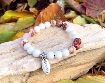 Serenity Mala Bracelet | Rose Quartz | White Onyx | Brazilian Crazy Lace Agate Mala Beads  | Reiki | Tranquility | Self Love | Composure