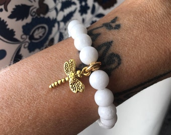 White Dragonfly Mala Bracelet | Luxury White Onyx | Bohemian Mala Beads | Reiki Healing | Clears Confusion | Boosts Intuition | Confidence