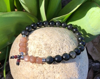 Men's Optimism Mala Bracelet | Luxury Rainbow Obsidian Crystals | AAA Sunstone Gemstones | Healing Mala Beads | Uplifting | Antidepressant
