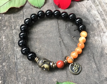Women's Strength & Protection Mala Bracelet | Onyx | Red Jasper | Orange Adventurine | Yoga Mala Beads | Natural Stones | Shields Negativity