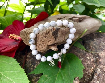 Silent Mind Mala Bracelet   Luxury White Howlite   Mini Silver Om Charm   Red Silk Tassel   Reiki Infused Mala Beads   Calms Overactive Mind