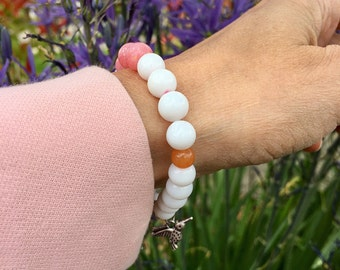 Peaceful Hummingbird Mala Bracelet | White Jade | Pink Jade | Orange Adventurine | Yoga Mala Beads | Strength | Insight | Serenity | Joy