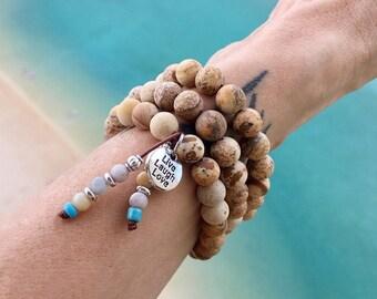 Beach Triple Wrap Mala Bracelet | Neutral Matte Picture Jasper | AAA Amazonite | Gemstone Mala Beads | Reiki Healing | Comfort | Tranquility