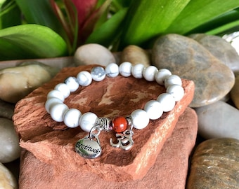 Om Grateful Mala Bracelet | White Howlite | Red Jasper | Reiki Energy Infused Mala Beads | Healing | Patience | Stress Relief | Calming |