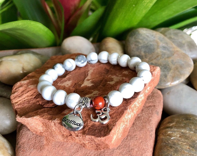 Featured listing image: Om Grateful Mala Bracelet | White Howlite | Red Jasper | Reiki Energy Infused Mala Beads | Healing | Patience | Stress Relief | Calming |