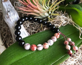 Healthy Balance Mala Bracelet | AAA Black Onyx | AAA Crazy Lace Agate | Reiki Infused Mala Beads | Strength | Optimism | Happiness | Joy
