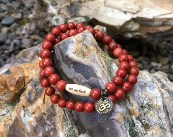 Women's Zen as F#ck Double Mala Bracelet | Reiki Infused Red Jasper Mala Beads | Stress Relief | Grounding | Stability | Protection