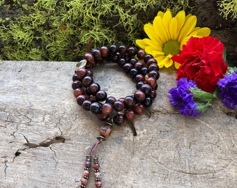 Nirvana Triple Wrap Mala Bracelet | AAA Grade Red Tigers Eye | Citrine | Natural Gemstone Mala Beads | Passion | Energy | Speeds Metabolism