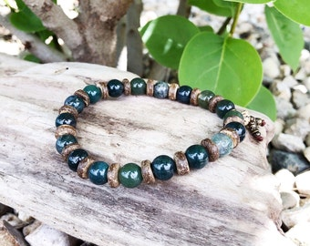Men's Abundant Nature Mala Bracelet | Green Moss Agate | Mala Beads | Eases Depression | Soothes Fear | Uplifting | Optimism | Abundance