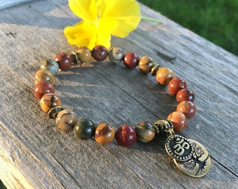 Om Worthy Mala Bracelet | Yoga Beads | Healing Stones | Picasso Jasper | Tree of Life | Enhances Body Image | New Friendships | Grounding