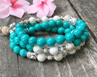 Shraddha Bracelet Stack | Turquoise | Magnesite | Mala Beads | Reduces Panic Attacks | Relieves Depression | Attracts Friendship and Love