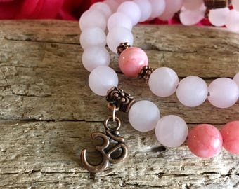 Open Heart Double Mala Bracelet | Womens Mala Beads | Boho Yoga Jewelry | Wrist Mala | Pink Frosted Rose Quartz | Rose Pink Jade | Self Love