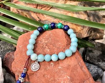 NEW! Gaia Mala Bracelet | Amazonite | Lapis Lazuli | Malachite | AAA Natural Gemstones | Authentic Swarovski | Universal Spiritual Guidance